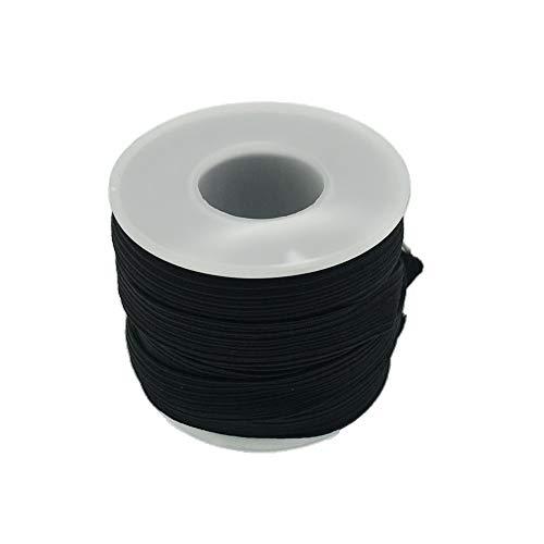 Braided Elastic Cord/Elastic Band/Elastic Rope/Bungee/White Heavy Stretch Knit Elastic Spool (Black, 8 Yard by 3/8-Inch)