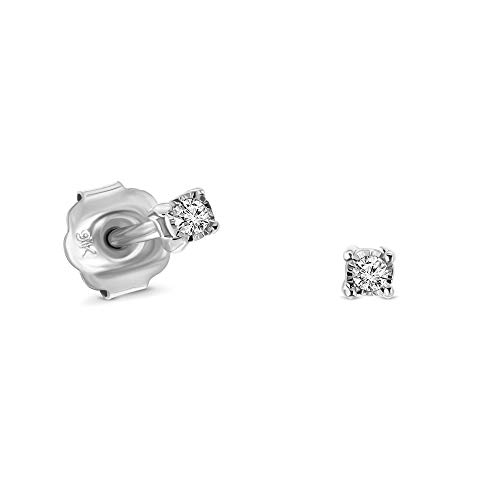 Miore 4 prong stud earrings in 9 kt 375 white gold with brilliant cut diamonds 0.02 ct