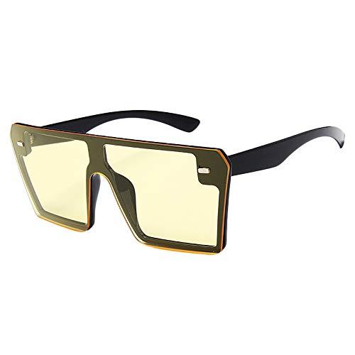 Yaootely Gafas de Sol Cuadradas Demasiado Grande de Moda para Mujer Gafas de Gradiente Superior Plana C6 Negro Brillante y Tabletas Amarillas