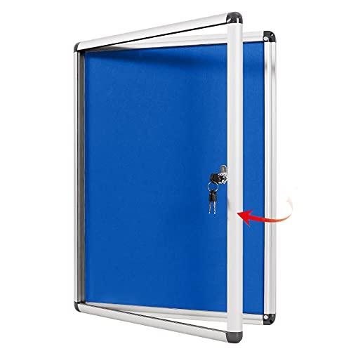 Swansea Bacheca Chiusa in Feltro con Anta Battente per Interni in Alluminio, 67x50cm (4xA4)