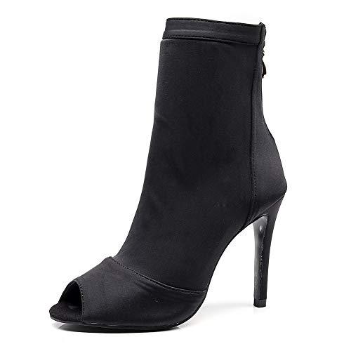 WJQ Women Ballroom Dancing Boots Salsa Shoes Latin Sandals Dance Bootie, Suede Sole, 4 Inch Height, Black Satin, 7.5 B(M) US