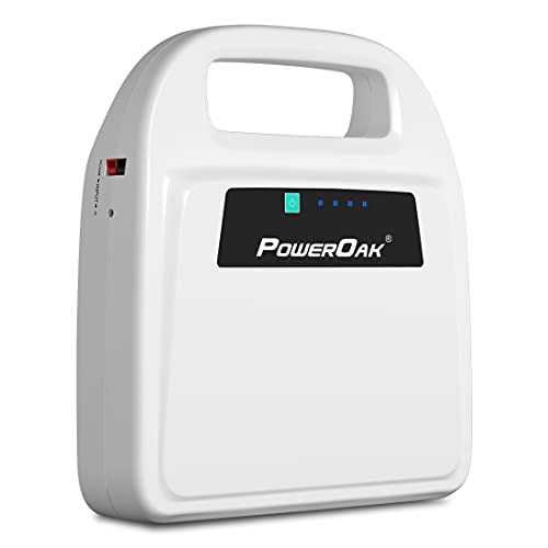 CPAP Battery Backup for Resmed Airsense 10 Supplies, POWEROAK Power Bank for CPAP Resmed S9/Aircurve 10/Dreamstation/Transcend Mini,12V/24V Solar/AC Rechargeable Power Station for CPAP