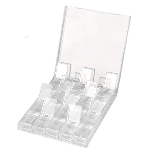 freneci Caja Portátil de 20 Ranuras para Decoración de Uñas, Divisor de Exhibición de Joyería para Uñas, Almacenamiento de Cosméticos - Claro