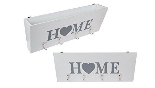 EuroDiscount Schlüsselkasten Schlüsselboard mit 4 Haken und Ablagefach Holz Weiß Home Schriftzug 40 cm