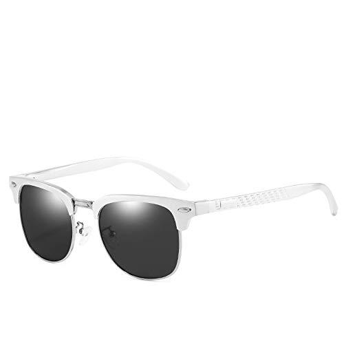 Gafas de Sol,Gafas de sol polarizadas para hombre Serie de gafas de sol de aluminio y magnesio Gafas de sol con espejo de conducción Gafas de sol para hombre, marco blanco Negro Película gris n. ° 5