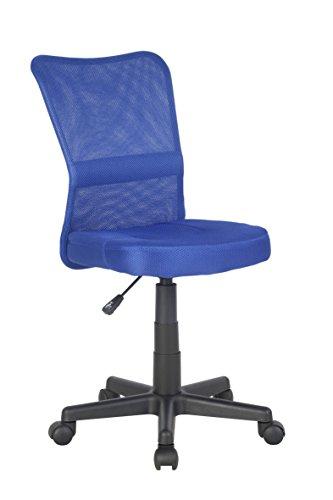 SixBros. Bürostuhl,Schreibtischstuhl, Drehstuhl für's Büro oder Kinderzimmer, stufenlos höhenverstellbar, Schreibtischstuhl für Kinder aus Stoff, blau, H-298F/2065