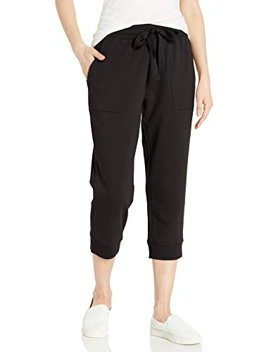 Amazon Brand - Daily Ritual Women's Terry Cotton & Modal Oversized-Fit Crop Jogger, Black , Large