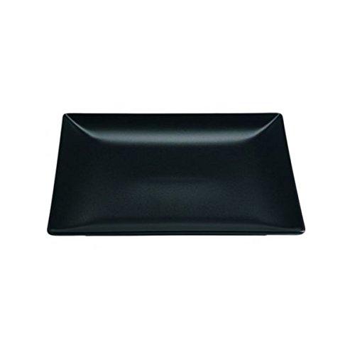 Visiodirect Lot DE 6 Assiettes CARREES Noires Kuro Porcelaine L210 x lg210 x H20 mm.
