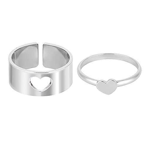 ISAKEN 1 Paar Passende Paar Ringe mit Herz Dekorationsmuste, Versprechensringe Verstellbares Partnerringe Verlobungsringe Eheringe tragbar Schmuck Zubehör Ring Männer Frauen Ring