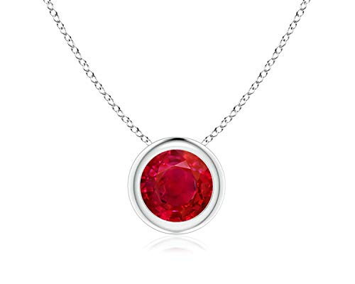 Bezel Set Created Ruby Pendant Necklace in 14k White Gold (7mm), 18'