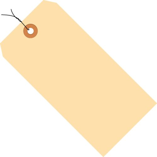 """Aviditi G30063 10 Point Cardstock Pre-Wired Shipping Tag, 5-1/4"""" Length x 2-5/8"""" Width, Manila (Case of 1000)"""