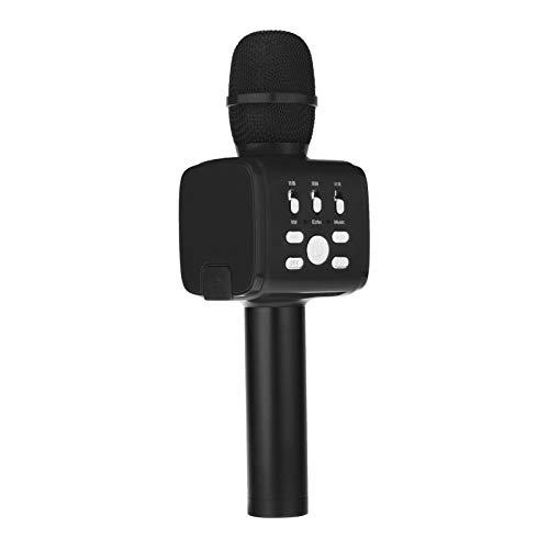 Almencla Micrófono de Karaoke Inalámbrico Altavoz de Mano Bluetooth Reproductor de KTV para El Hogar Mic - Negro