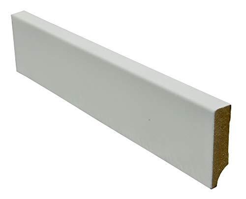 12,2 Meter Cube MDF Sockelleiste 58mm hoch 16mm stark 2440mm lang Fußleiste weiß lackiert, Farbe:weiß