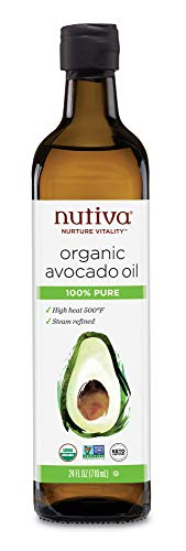 Nutiva Organic Steam-Refined Avocado Oil, 100% Pure, 24 Fl Oz Glass | USDA Organic, Non-GMO, Whole 30 Approved, Keto, Paleo | High-Heat Oil with Neutral Flavor and Aroma for Cooking & Frying