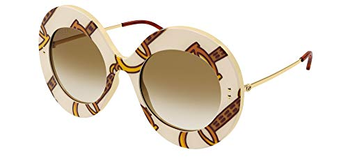 Gucci Gafas de Sol GG0894S Ivory Brown/Brown Shaded 53/22/140 mujer