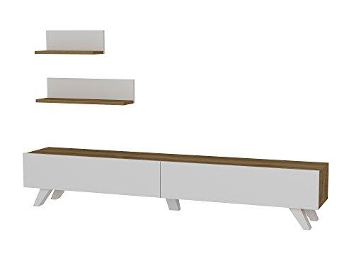 Alphamoebel 1667 TV Board Lowboard Fernsehtisch Fernsehschrank Sideboard, Fernseh Schrank Tisch für Wohnzimmer, Weiß Walnuss, Amerika, 180 x 29,5 x 32,6 cm