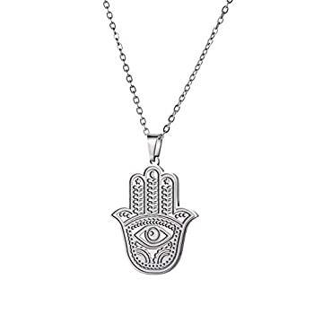 cooltime Womens Necklace Stainless Steel Hamsa Hand of Fatima Evil Eye Pendant Necklace Good Luck Amulet  Style 1