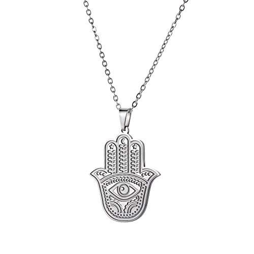 Cooltime, collana da donna in acciaio inox, con ciondolo a forma di mano di Fatima, con scritta 'Good Luck' e Acciaio inossidabile, colore: Argento, cod. 20191110