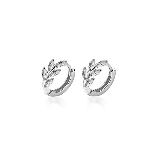 CZ Leaf Cartilage Huggie Small Hoop Earrings for Women Girls 925 Sterling Silver Cubic Zirconia Cluster Leaves Round Studs Tragus Pierced Ear Endless Hoops 8mm Dainty Gifts (Silver)