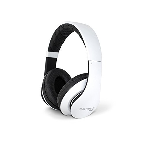 FANTEC SHP-3 On Ear Stereo HiFi Kopfhörer (mit Freisprechfunktion, integriertes Mikrofon, 1-Tasten Fernbedienung, abnehmbares Textilkabel, 3,5 mm Klinkenstecker) weiss/schwarz