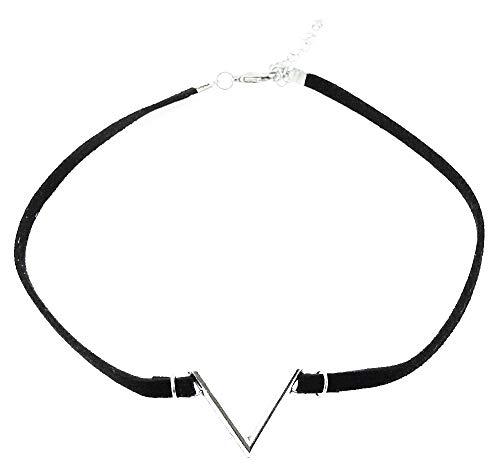 Vrouwelijke ketting - vrouw - choker - kraag - zwart fluweel - ketting - vintage - brief - vrouw - meisje - terug - origineel cadeau-idee - zilver - verjaardag - kerstmis - sieraden