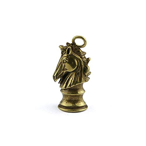 YGAKX Cobre Puro Hecho a Mano Creativo Caballo de ajedrez Colgante latón Zodiaco Cabeza de Caballo Llavero Colgante Llave de Coche joyería