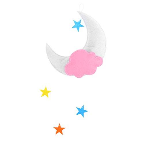OULII Couverture pour chambre d'enfant - Mobile nuages, lune, étoiles - Décoration à suspendre pour baby shower, chambre d'enfant (White Moon Orange Cloud multicolore étoiles)