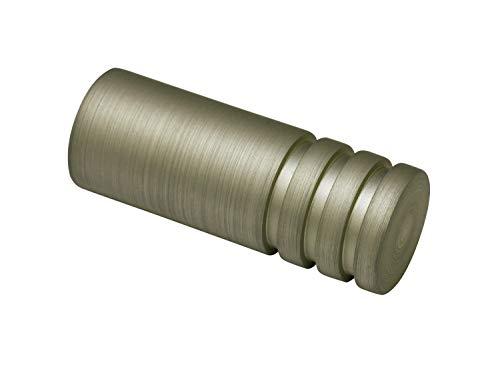 Gardinia Zylinder, 2 x Endstück, Metall, Champagner, für Gardinentechnik Ø 19 mm