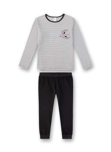 Sanetta Mädchen Pyjama Zweiteiliger Schlafanzug,Schwarz und weiß, Herstellergröße: 128