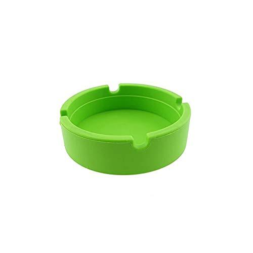 haodou Posacenere Forma Rotonda ad alta temperatura della Tolleranza Custodia Gel Posacenere facile da lavare Posacenere Verde 8.3*8.3*2.3cm Verde