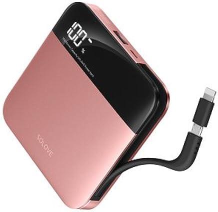 SOLOVE素乐自带线10000毫安小巧充电宝Apple/苹果type-c手机通用r11苹果6sp7小米华为vivo r9闪充便携移动电源 (玫瑰金)