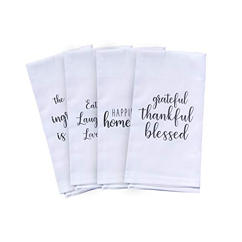 Michael Grace Gifts Cute Kitchen Towels Set - 4 Kitchen Towels with Printed Designs | White Hand Towels or Dish Towels Go with Any Decor| Perfect for Housewarming Gift Valentines Mothers Day Birthday