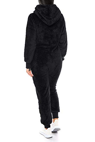 Crazy Age Damen Jumpsuit aus kuscheligem Teddy Fleece | Overall | Ganzkörperanzug Flauschig |Homewear (Schwarz, L~40) - 4