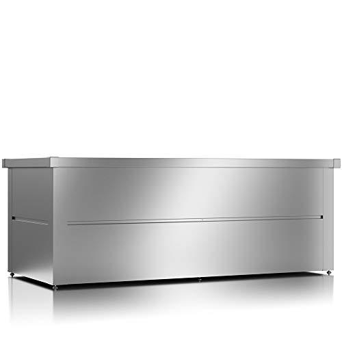 ILESTO Aufbewahrungsbox aus Stahl, Benjamin (783L): Auflagenbox wasserdicht XXL | Kissenbox für Ihren Garten 185x85x69cm | Stauraum für den Außenbereich | Silber Metallic - 2