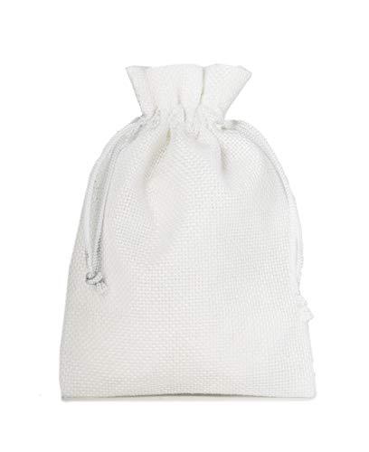 12 Sacchetti di stoffa in stile iuta, misura 15x10 cm, sacchetti regalo, sacchetti per calendario dell' avvento (bianco)