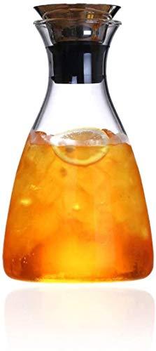 Tetera de cristal 1.1Liter jarra jarro de agua Resistencia al calor de la jarra de agua con acero inoxidable y silicona goteo libre del labio garrafa de cristal Sirviendo casero jugos y té helado o un