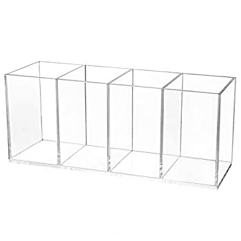 COYMOS Clear Pencil Holder for Desk 4 Compartments Acrylic Pen Holder Organizer Pencil Cup Stationery Organizer for Desk Accessories Cosmetic Brush Storage Box for Office Dorm Bathroom Kitchen