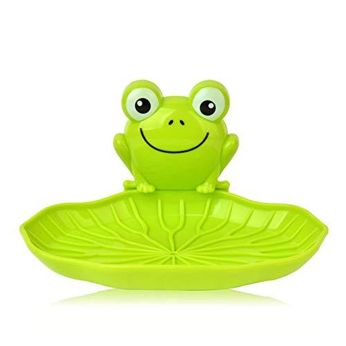 aaerp Seifenschale – süßer Frosch zur Wandmontage, Kunststoff-Aufbewahrungsbox mit Saugnapf für Badezimmer Küche, grün, 14*9.8*7.5cm