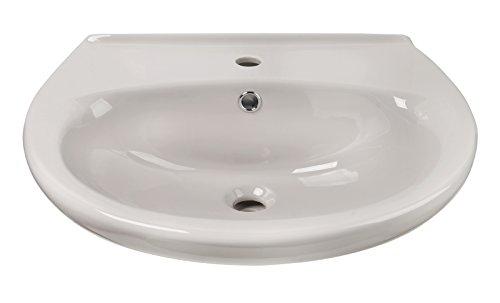 'aquaSu® Waschtisch | 55 cm | Manhattan | Grau | Waschbecken | Waschplatz | Bad | Badezimmer | Keramik | Mit Überlaufschutz
