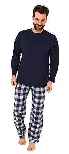 Herren Schlafanzug Pyjama lang mit Flanell Hose - auch in Übergrössen - 281 101 90 650, Farbe:Marine, Größe2:62