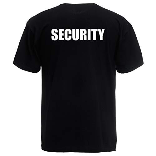 Shirt-Panda Herren T-Shirt · Security · Unisex Brust & Rücken Shirt für Sicherheitsdienst · 100% Baumwolle · hochwertiger Textildruck · Schwarz (Druck Weiß) L