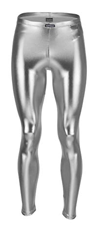 Vantissimo Herren Leder Leggings Made in Germany in Silber Metallic glänzend Lederhose Optik Kunstleder enganliegend Stretch Hose, Silver Meggings Wetlook Leggins Streetwear (Silver, L)