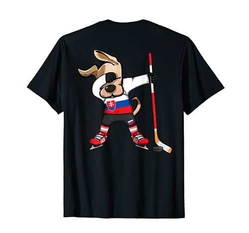 Dabbing Hund Slowakei Eishockey Mannschaft Wintersport T-Shirt