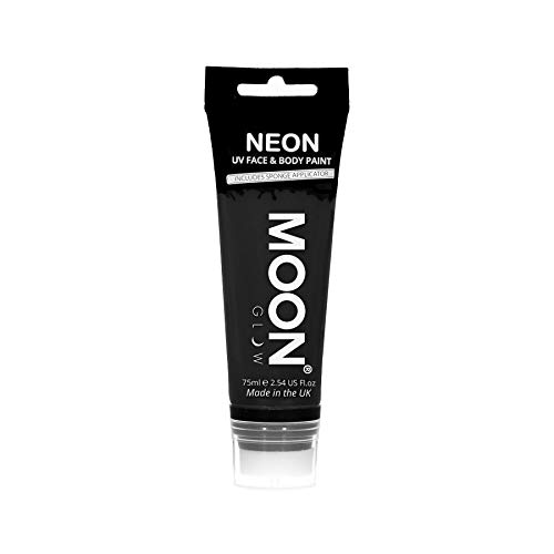 Moon Glow Grande Pintura Corporal y Facial 75ml UV Glow Negro - Fluorescente incandescente con aplicador de esponja