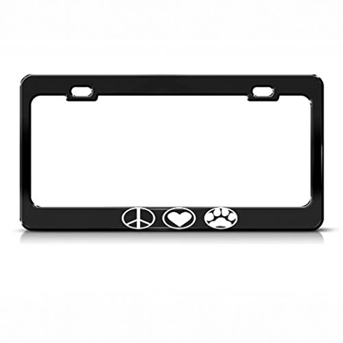 Speedy Pros Metal License Plate Frame Peace Love Paw Black Car Accessories Black 2 Holes