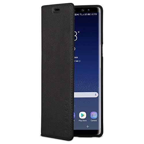 KANVASA Galaxy Note 8 Lederhülle Leder Hülle Ledertasche schwarz Pro Luxus Echtleder Hülle Tasche Flip Cover für das Original Samsung Galaxy Note 8 (6,3