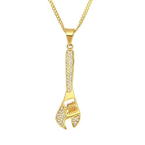 Urbanice - Collar Herramienta Llave Colgante Mecánico Diamantes (Trap)