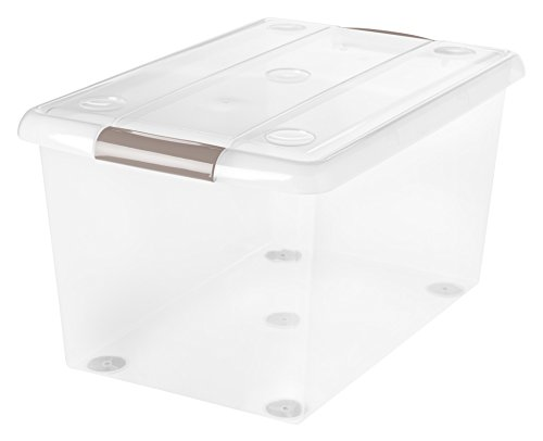 IRIS 61 Quart Store And Slide Storage Box, Clear with Tan Handles, 6 Pack