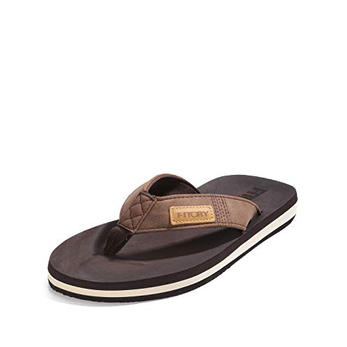 FITORY Men's Flip-Flops, Thongs Sandals Comfort Slippers for Beach Brown Size 11
