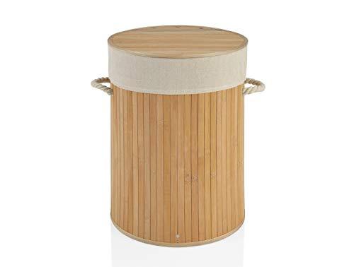 Panier à Linge Rond Bambou Poignées Corde Intérieur Amovible Beige